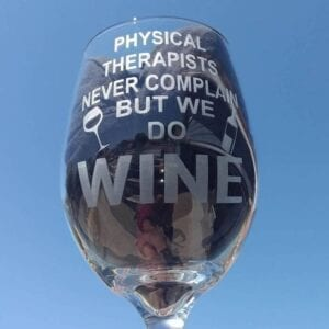 an engraved wine glass